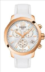 Tissot Quickster Chronograph Mother Of Pearl Dial White Silicon Band Gold-tone Steel Case Men's Sports Watch