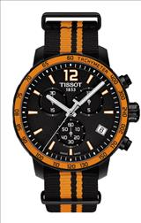 Tissot Quickster Chronograph Black Dial Black Synthetic Band Men's Sports Watch