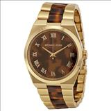 Michael Kors Channing Tortoise-Shell Dial Tortoise-Shell and Acetate Gold-tone Ladies Watch