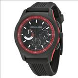 Michael Kors Outrigger Chronograph Black and Red Dial Black Rubber Men's Watch