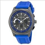 Michael Kors Outrigger Chronograph Grey and Blue Dial Blue Rubber Men's Watch