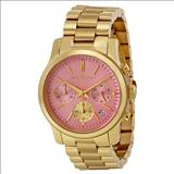 Michael Kors Runway Pink Dial Gold-tone Stainless Steel Ladies Watch