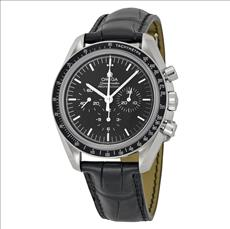 Omega Speedmaster Professional Moonwatch Chronograph Black Dial Black Leather Men's Watch 31133423001002