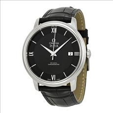 Omega DeVille Prestige Automatic Black Dial Black Leather Men's Watch