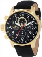 Invicta 1515 I Force Collection 18k Gold Ion-Plated Stainless Steel and Black Cloth Watch