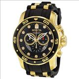 Invicta 6981 Pro Diver Collection Chronograph Black Dial Black Polyurethane Watch