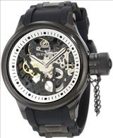 Invicta 1091 Russian Diver Stainless Steel and Black Polyurethane Mechanical Watch with Skeleton Window
