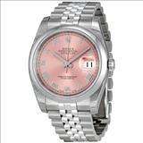 Rolex Datejust Pink Roman Numeral Dial Stainless Steel Mens Watch 116200PRJ