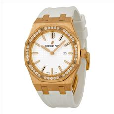 Audemars Piguet Royal Oak Diamond Silver Dial 18 kt Rose Gold Ladies Watch 67651OR.ZZ.D010CA.01
