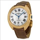 Cartier Cle Silver Flinque Dial 18K Rose GOld Automatic Men's Watch